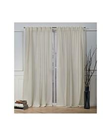 Nicole Miller Faux Linen Slub Textured Hidden Tab Top Curtain Panel Pair