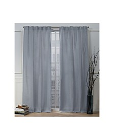 "Nicole Miller Faux Linen Slub Textured Hidden Tab Top 54"" X 84"" Curtain Panel Pair"