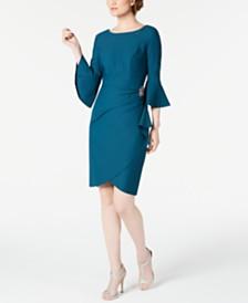 Alex Evenings Bell-Sleeve Draped Compression Sheath Dress