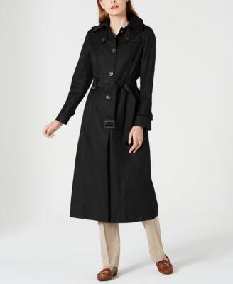 Single-Breasted Water-Resistant Hooded Raincoat