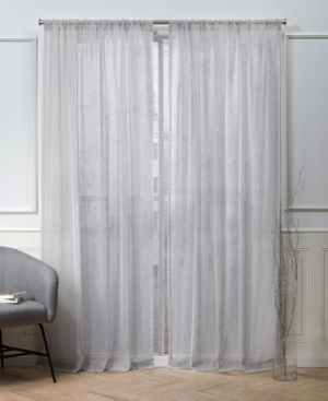 "Exclusive Home Nicole Miller Belfry Sheer Rod Pocket Top 50"" X 84"" Curtain Panel Pair In Silver"