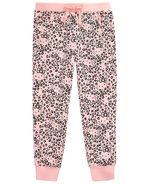 Hello Kitty Little Girls Leopard-Print Jogger Pants