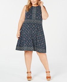 Michael Michael Kors Plus Size Border-Print Dress