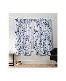 "Nicole Miller Lillian Floral Cotton Hidden Tab Top 50"" X 63"" Curtain Panel Pair"
