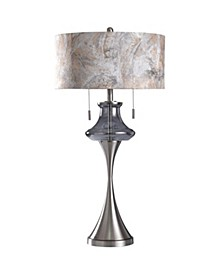 Callington 35in Plated Glass Font and Metal Body Table Lamp with Designer Shade