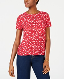 Maison Jules Printed Button-Back Top, Created for Macy's