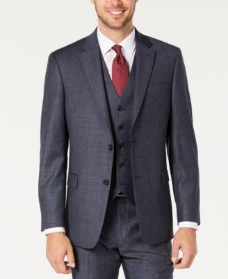 Men's Modern-Fit THFlex Stretch Blue Plaid Suit Separate Jacket
