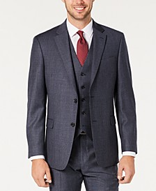 Men's Modern-Fit THFlex Stretch Blue Plaid Suit Separate Jacket