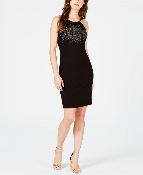 bebe Studded-Logo Halter Dress