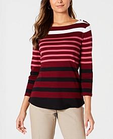 Pima Cotton  Button-Shoulder Stripe Top, Created  for Macy's