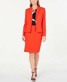 Calvin Klein One-Button Jacket, Printed Pleat-Neck Top & Straight Skirt