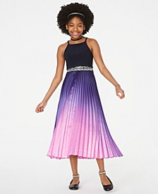Big Girls Popover-Bodice Pleated Dress