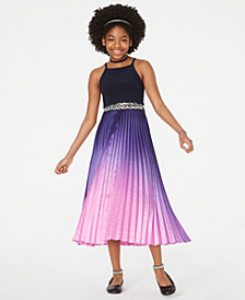 Rare Editions Big Girls Popover-Bodice Pleated Dress