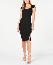 Calvin Klein Square-Neck Slit Sheath Dress