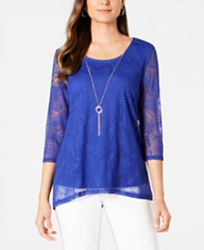 JM Collection Overlay Necklace Top, Created for Macy's