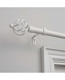"""Exclusive Home Torch 1"""" Curtain Rod and Coordinating Finial Set, Adjustable 66""""-120"""""""