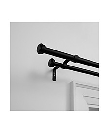 """Topper Double Curtain Rod and Finial Set, 36""""-72"""""""