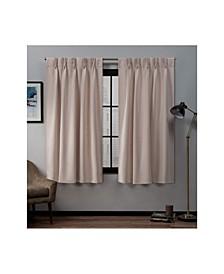 "Sateen Twill Woven Blackout Pinch Pleat Window Curtain Panel Pair, 30"" x 63"""