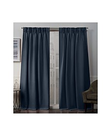 """Exclusive Home Sateen Twill Woven Blackout Pinch Pleat Window 30"""" X 96"""" Curtain Panel Pair"""