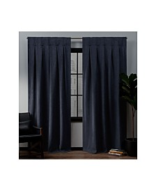 "Exclusive Home Ghent Metro Suede Inverted Pleat Button Top 32"" X 96"" Curtain Panel Pair"