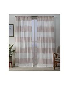 Darma Sheer Linen Rod Pocket Curtain Panel Pair