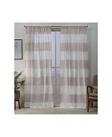 "Exclusive Home Darma Sheer Linen Rod Pocket 50"" X 108"" Curtain Panel Pair"