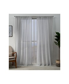 """Exclusive Home Hemstitch Sheer Embellished Rod Pocket Top 54"""" X 108"""" Curtain Panel Pair"""