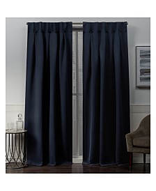 "Exclusive Home Sateen Woven Blackout Button Top Window 32"" X 96"" Curtain Panel Pair"