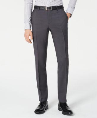 Men's Slim-Fit Gray Sharkskin Suit Separate Pants