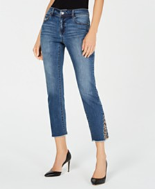 I.N.C. Petite Leopard-Trim Cropped Jeans, Created For Macy's