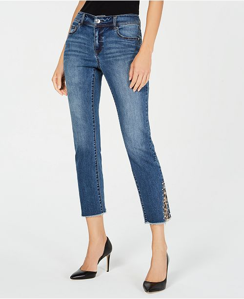 INC International Concepts INC Leopard-Trim Cropped Straight-Leg Jeans, Created for Macy's
