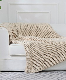 Chunky Cable Knit Throw Blanket