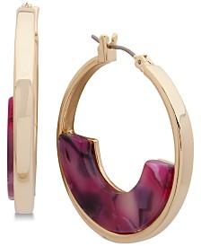 """DKNY Medium Colored Acetate Hoop Earrings 1-1/5"""""""