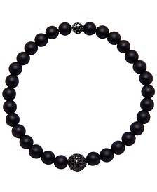 Men's Wristband with Agate and Black Cubic Zirconia Crystal