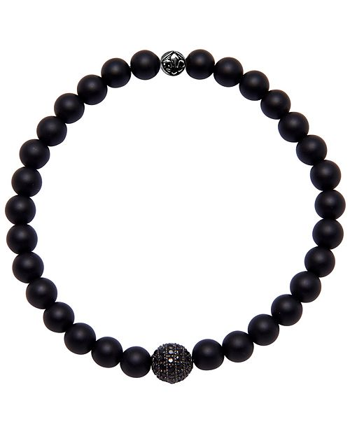 Nialaya Men's Wristband with Agate and Black Cubic Zirconia Crystal