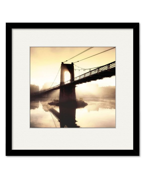 """Courtside Market Footbridge in The Setting Sun 16"""" x 16"""" Framed and Matted Art"""