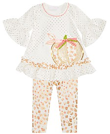 Bonnie Baby Baby Girls Sequin Pumpkin Top & Leggings Set