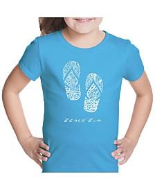 LA Pop Art Girl's Word Art T-Shirt - Beach Bum
