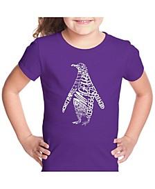 Girl's Word Art T-Shirt - Penguin