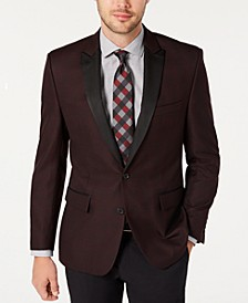 Men's Modern-Fit Burgundy Plaid Dinner Jacket, Created for Macy's