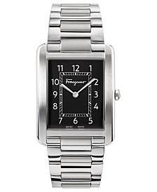 Ferragamo Men's Swiss Tank Gent Stainless Steel Bracelet Watch 31x41mm