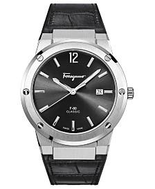 Ferragamo Men's Swiss F-80 Black Leather Strap Watch 41mm