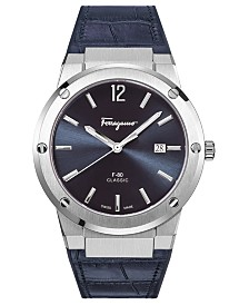 Ferragamo Men's Swiss F-80 Blue Leather Strap Watch 41mm