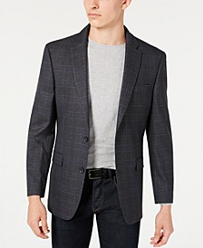 Men's Modern-Fit THFlex Stretch Gray and Blue Plaid Sport Coat