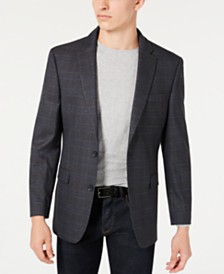 Tommy Hilfiger Men's Modern-Fit THFlex Stretch Gray and Blue Plaid Sport Coat