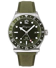 Ferragamo Men's Swiss 1898 Sport Green Leather Strap Watch 44mm