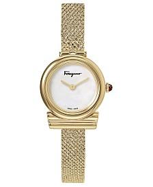Ferragamo Women's Swiss F-80 Gold-Tone Stainless Steel Bracelet Watch 22mm