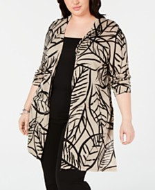 Kasper Plus Size Printed Duster Cardigan