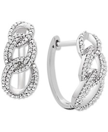 Diamond Interlocking Link Hoop Earrings (1/2 ct. t.w.) in Sterling Silver