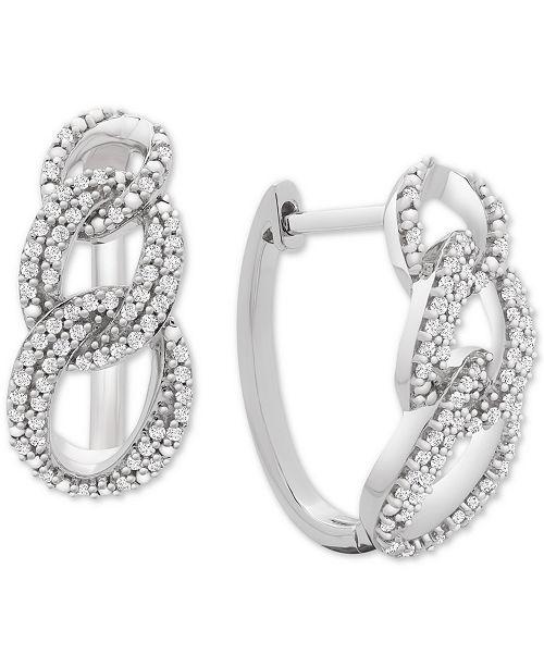 Macy's Diamond Interlocking Link Hoop Earrings (1/2 ct. t.w.) in Sterling Silver